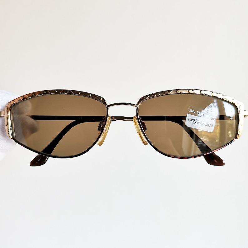 863e451989 YVES SAINT LAURENT vintage Sunglasses Ysl rare gold eyebrows