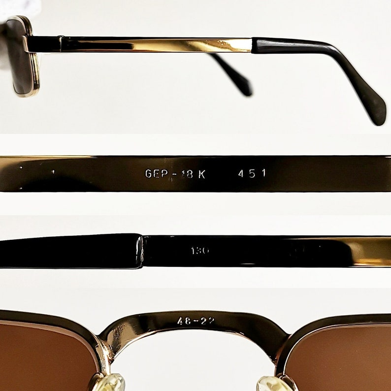 c6810a6064 18K GOLD small vintage sunglasses square rectangular oval