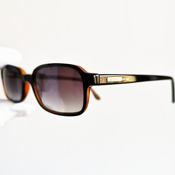 7899a949acef VERSACE vintage sunglasses rare black rectangular square oval