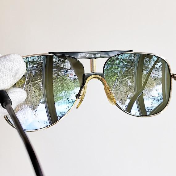 049ae7161d8dd ALITALIA vintage SUNGLASSES rare aviator gold black Professional 560 Kanye  West Karl Lagerfeld mirror lens supreme yeezy boost lim. edition