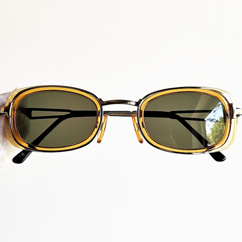 ee3dccf13a7dd VERSACE vintage Sunglasses rare oval rectangular orange silver Gianni  VERSUS steampunk square frame supreme small tiny 90s new lenses Migos