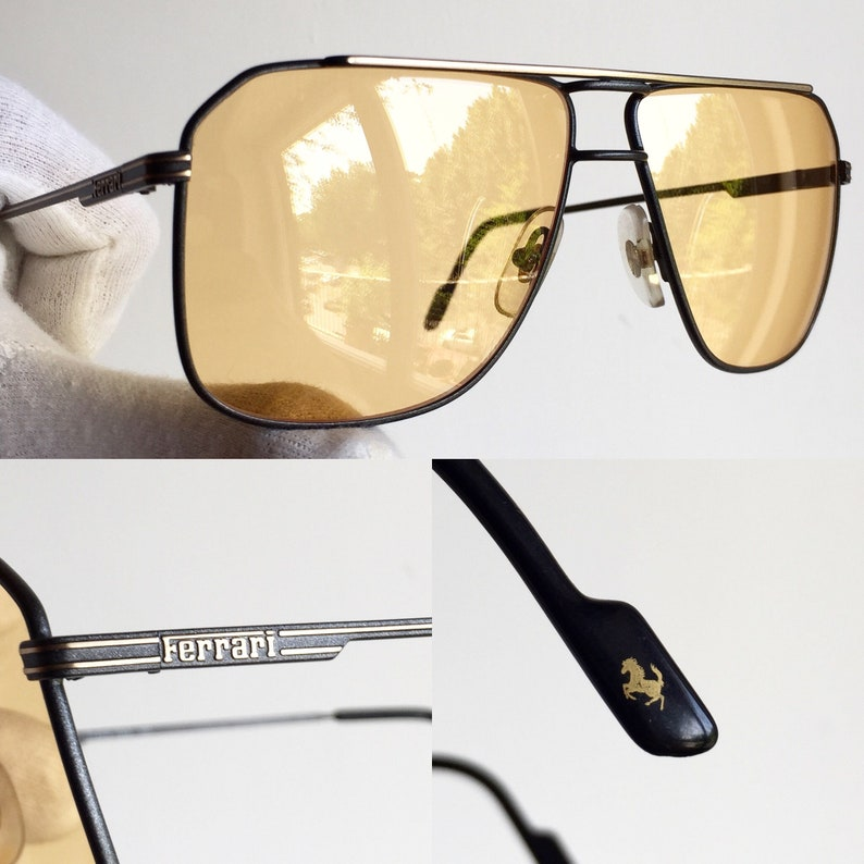 02679c51499 FERRARI vintage sunglasses rare gray gold square aviator F24