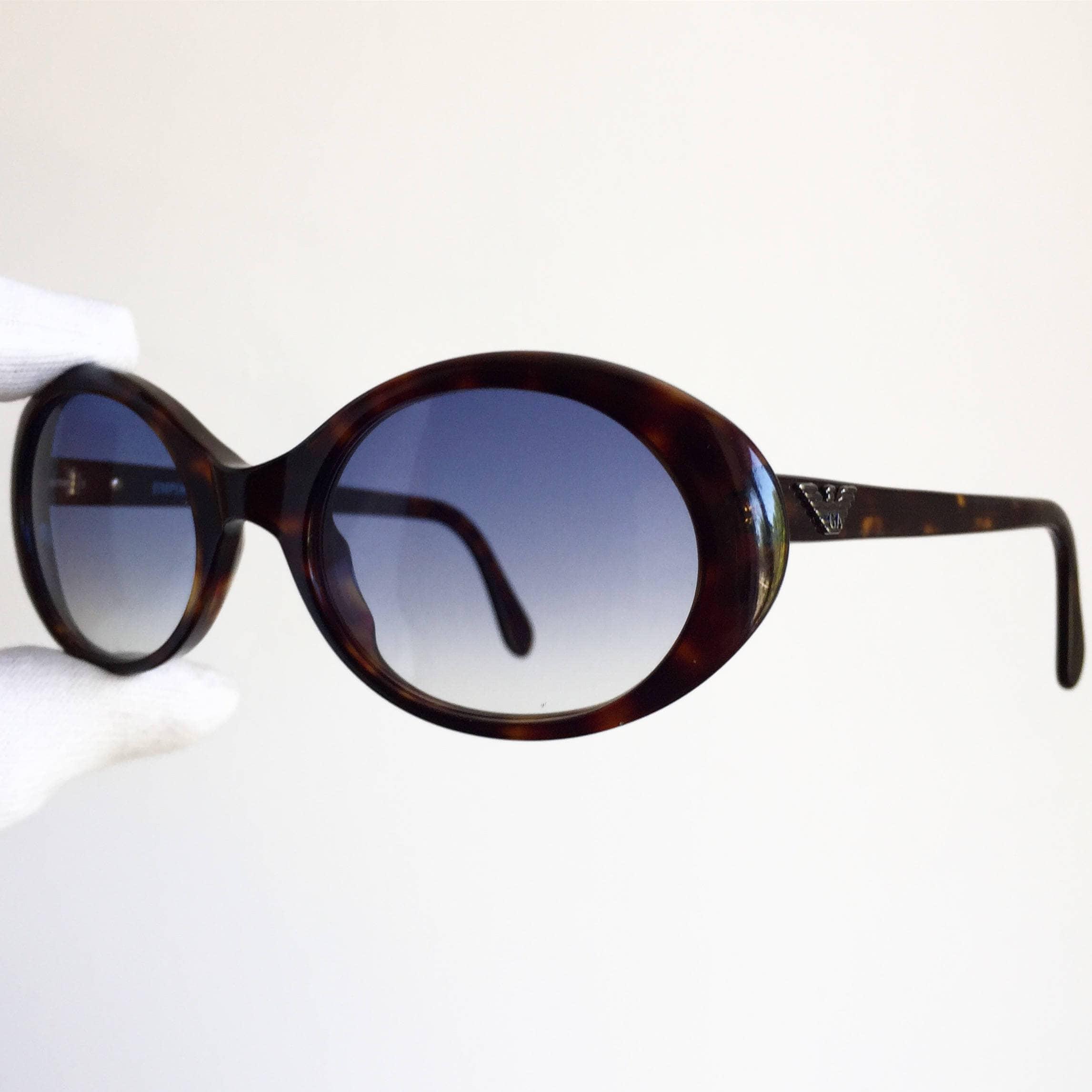 ARMANI Jahrgang Sonnenbrille seltene ovale kleine neue blaue   Etsy