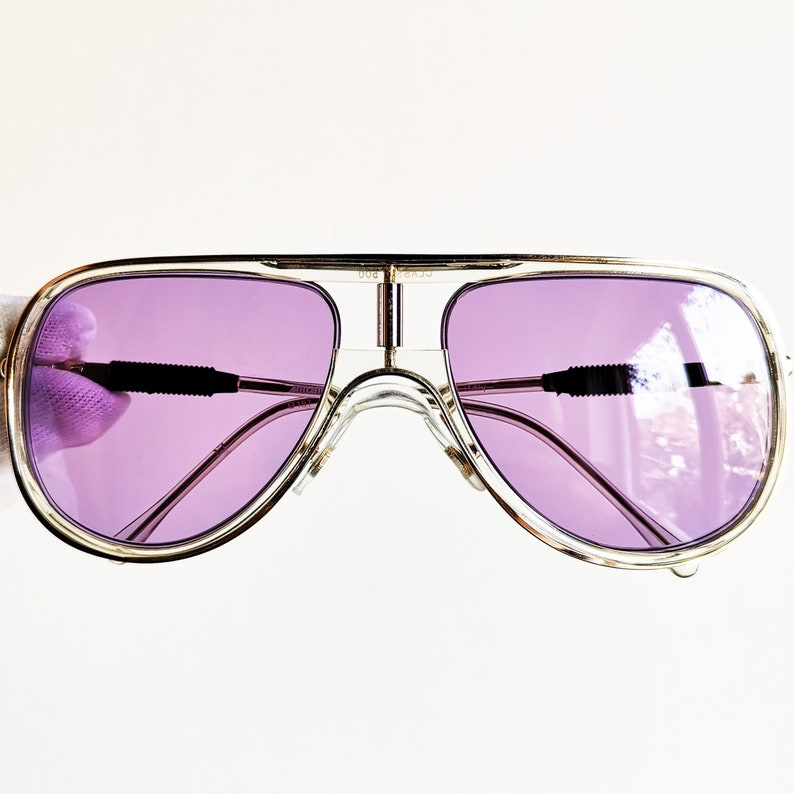 9d57bf6ea00ff ALITALIA vintage SUNGLASSES rare aviator new purple lens clear frame Kanye  West made in Italy Classic 500 yeezy boost zebra shooter NOS icy