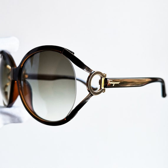 FERRAGAMO vintage Sunglasses rare wrap wraparound rimless gold ring brown butterfly mask SF600S Salvatore frame made in Italy new lenses 90s
