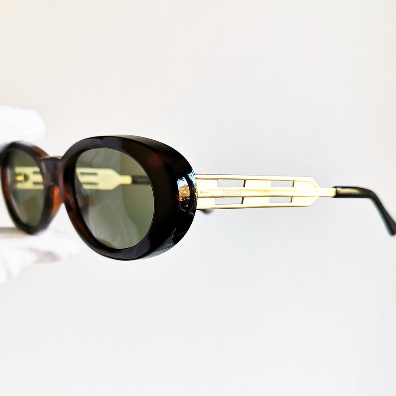 8a93d92a4c VERSACE vintage sunglasses rare oval gold rim temples tortoise