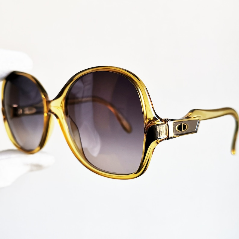 0308b48739 DIOR vintage Sunglasses rare yellow gold round mask oversize