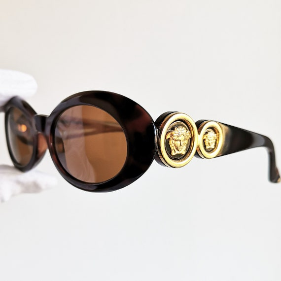 f665785c4dbb VERSACE vintage sunglasses rare 527 oval gold medusa genuine | Etsy