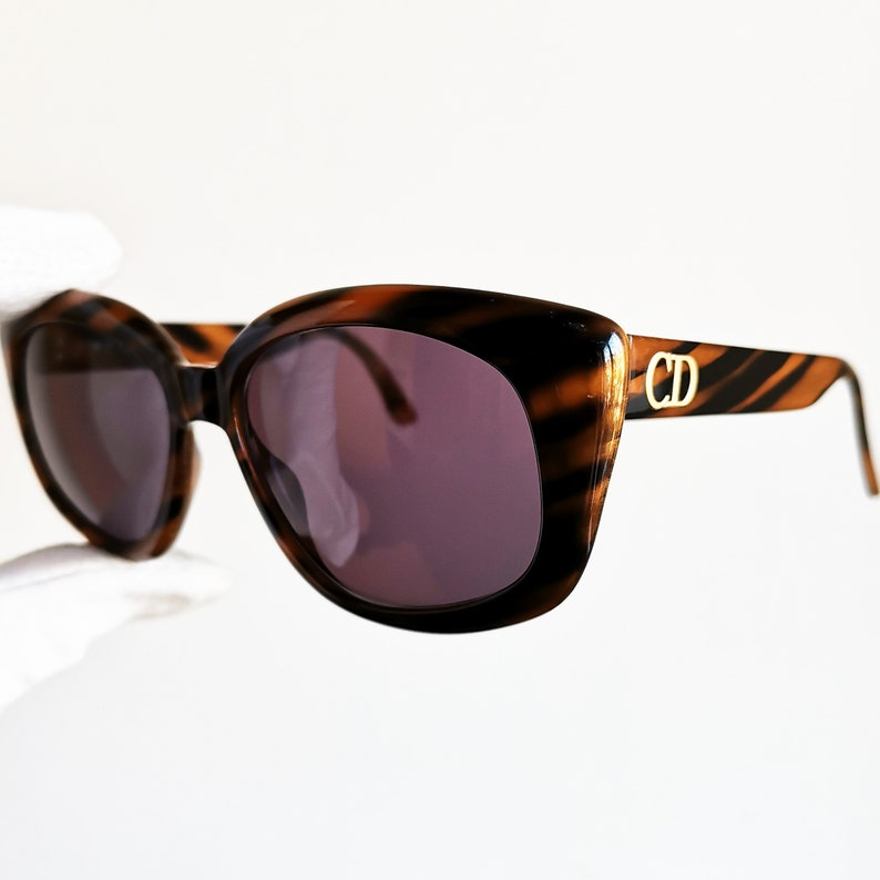 33cf72079de46 DIOR vintage Sunglasses rare square 2930 tortoise brown diva cateye stripes  oversize big angular mask French style Christian animalier frame