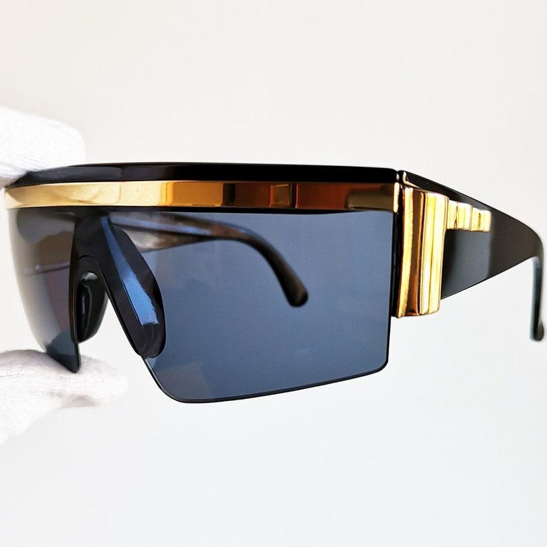 49b81a22c210 VERSACE vintage sunglasses rare mask black gold square wrap