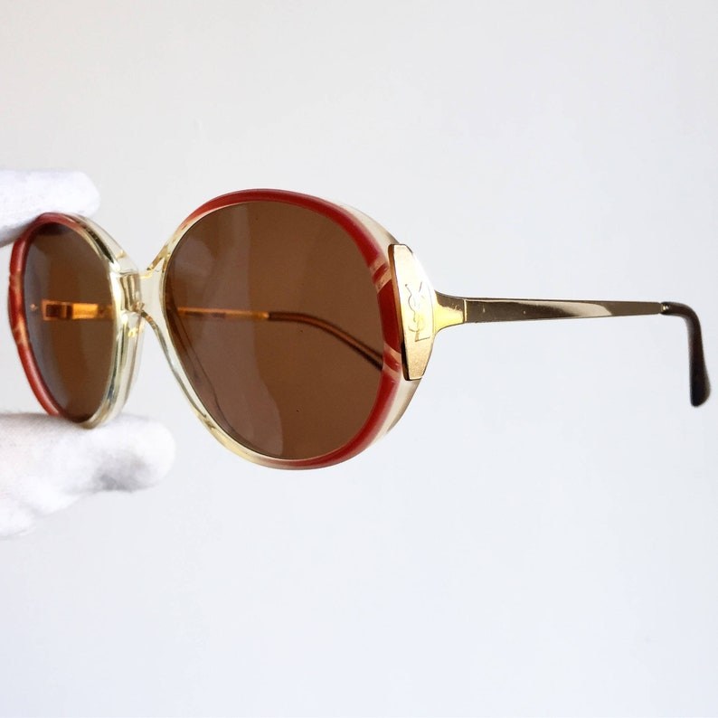 14a46a7ad6 YVES SAINT LAURENT vintage sunglasses Ysl rare oval round gold