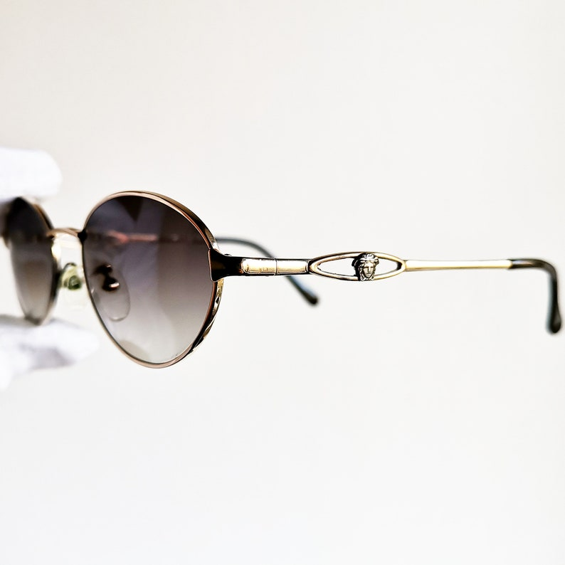 4adc48590bfb6 VERSACE vintage sunglasses rare oval round gold medusa genuine