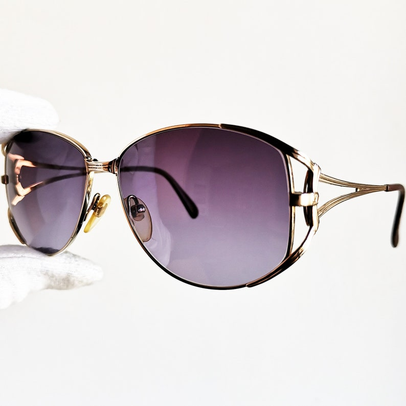 99bfbb6a18 VALENTINO vintage SUNGLASSES rare engraved gold made in Italy 5413 aviator  mask shield frame oversize big new purple lens VLTN