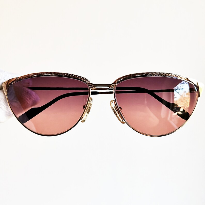 9e1072113fb51 TIFFANY vintage sunglasses rare 23K Gold plated filled frame oval rope T/47  lunettes made in Italy Migos Rihanna new pink purple lens NOS
