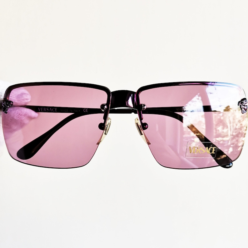 c7acc7ec2c00 VERSACE vintage sunglasses rare square mask purple rimless | Etsy