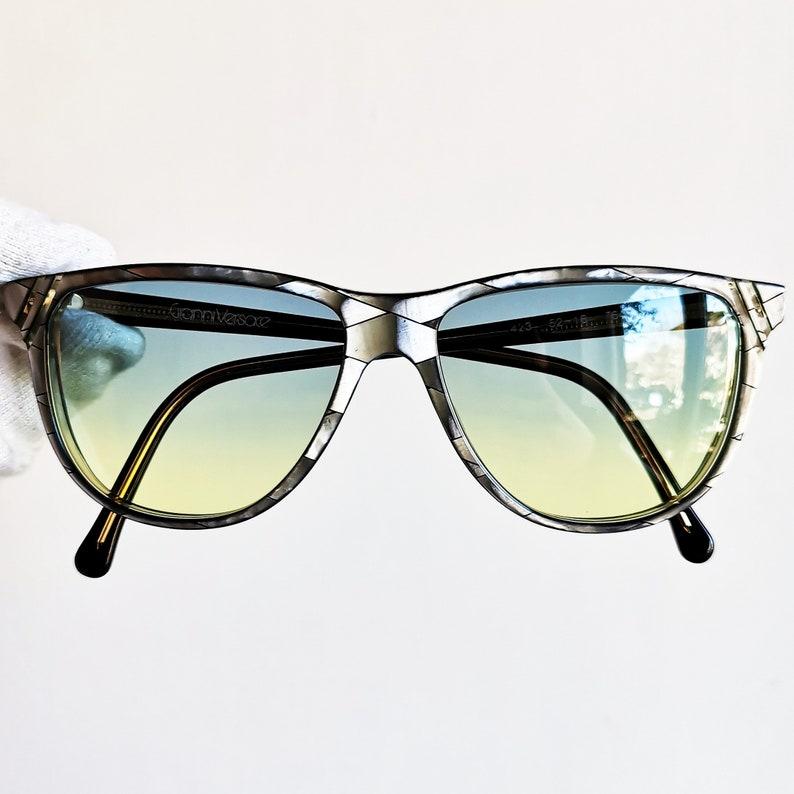 efbed293a978 VERSACE vintage sunglasses rare oval wayfarer eyewear glasses   Etsy