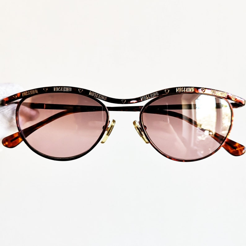 8c4fb3546c402 MOSCHINO by PERSOL small vintage Sunglasses rare oval red & gold Valentine  frame MM144 peace Love heart new pink purple mirror lens NOS 90s