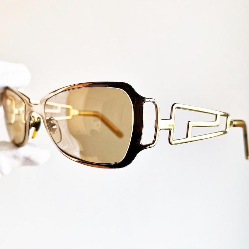 3682f66a235 VERSACE vintage SUNGLASSES rare gold rectangular square oval