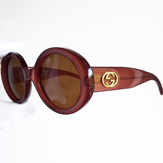 bd3142874b GUCCI vintage SUNGLASSES rare iridescent red burgundy oversize