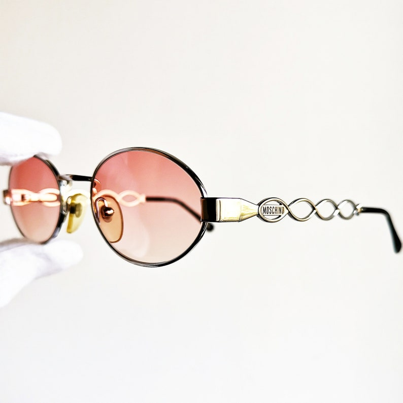 85964bb42bc4a MOSCHINO by PERSOL vintage Sunglasses rare oval pink lenses MM965 silver  infinite rim supreme steampunk Migos Tupac frame clear new NOS 90s