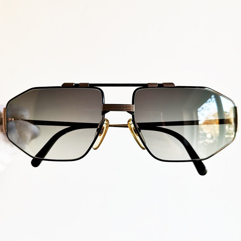 79ef1240d9 DIOR vintage sunglasses rare square aviator black gold mask wrap made in  Austria Christian frame 2516 oversize shield carved ...