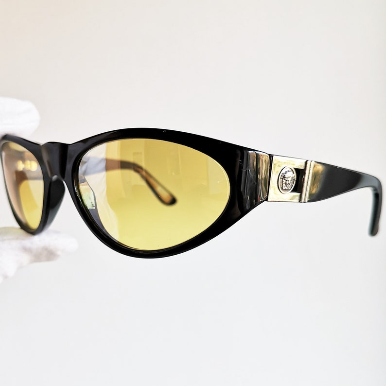 2a2060add66 VERSACE vintage Sunglasses rare oval mask new yellow lens wrap