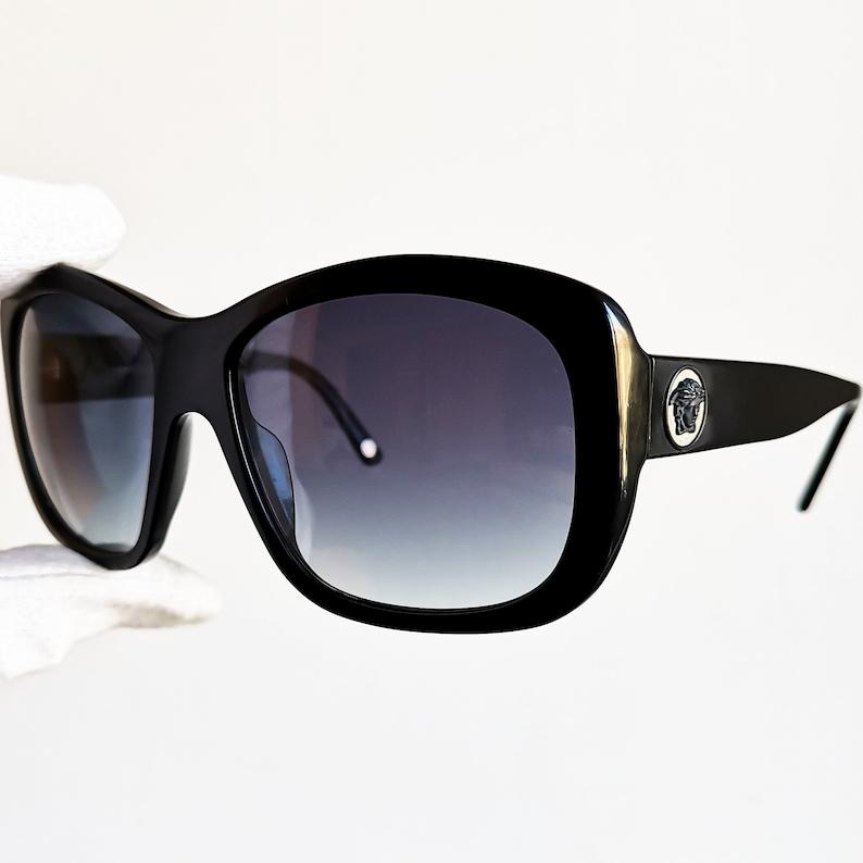 c1501ab27b09 VERSACE vintage sunglasses rare wrap wraparound black square