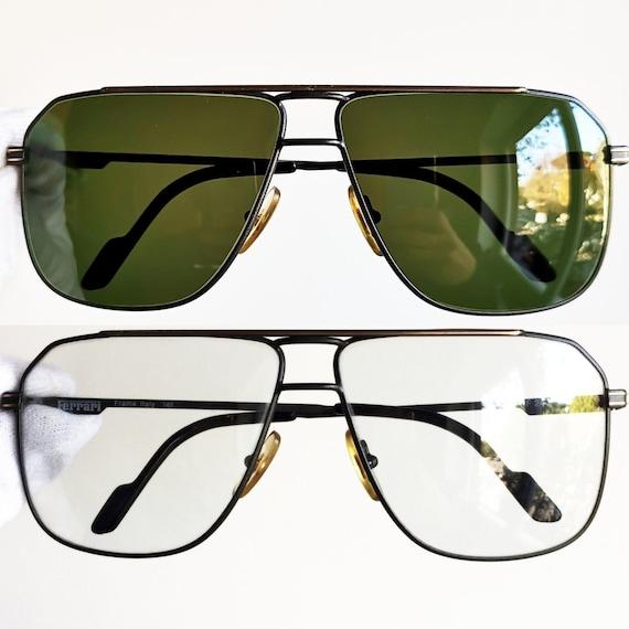 FERRARI vintage sunglasses rare square drop shaped aviator gray gold F24  Formula de CARTIER lunette hype scuderia new green lens + clear NOS