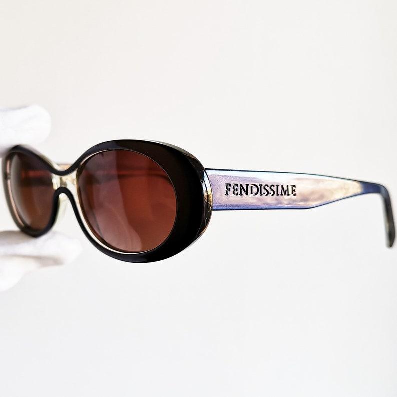 4bb98f063d2e5 FENDI vintage SUNGLASSES rare oval FENDISSIME small blue 90s