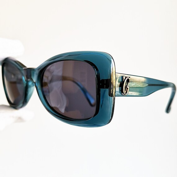 09e254ab442 VERSACE vintage SUNGLASSES rare mask blue turquoise funky