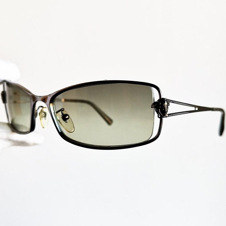9dbfd75005 VERSACE vintage sunglasses rare medusa oval mask Gianni N55 rimless square  wrap wraparound 90s frame genuine New NOS