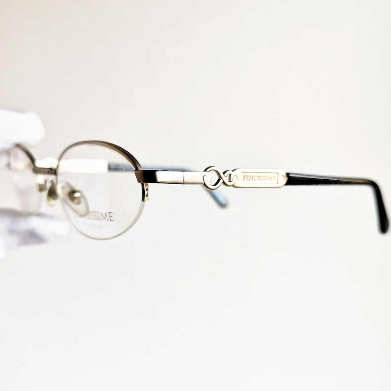 83b191ab39 FENDI gold oval Eyewear vintage Eyeglasses rare black rimless