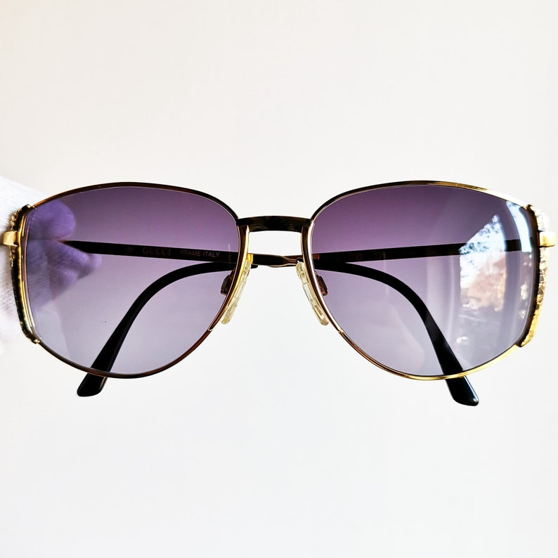 2db7bef73270f GUCCI vintage SUNGLASSES rare oval squared gold purple lens GG2225 frame  aviator new NOS