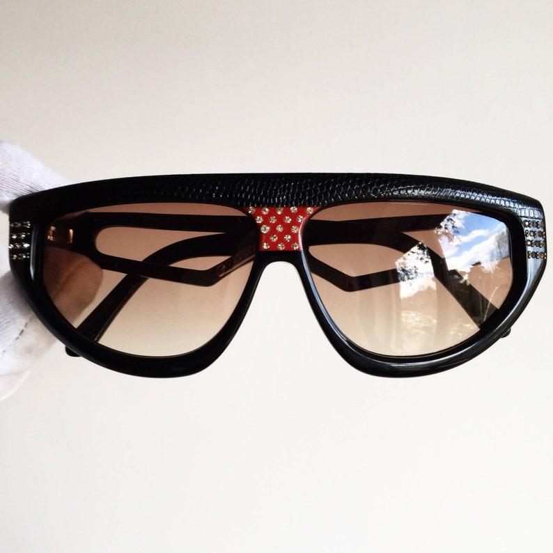 3ec50d1677c CLAUDIA CARLOTTI vintage sunglasses rare mask black red