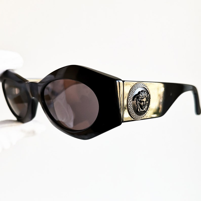 4505188c38 VERSACE vintage sunglasses rare black gold mask medusa genuine
