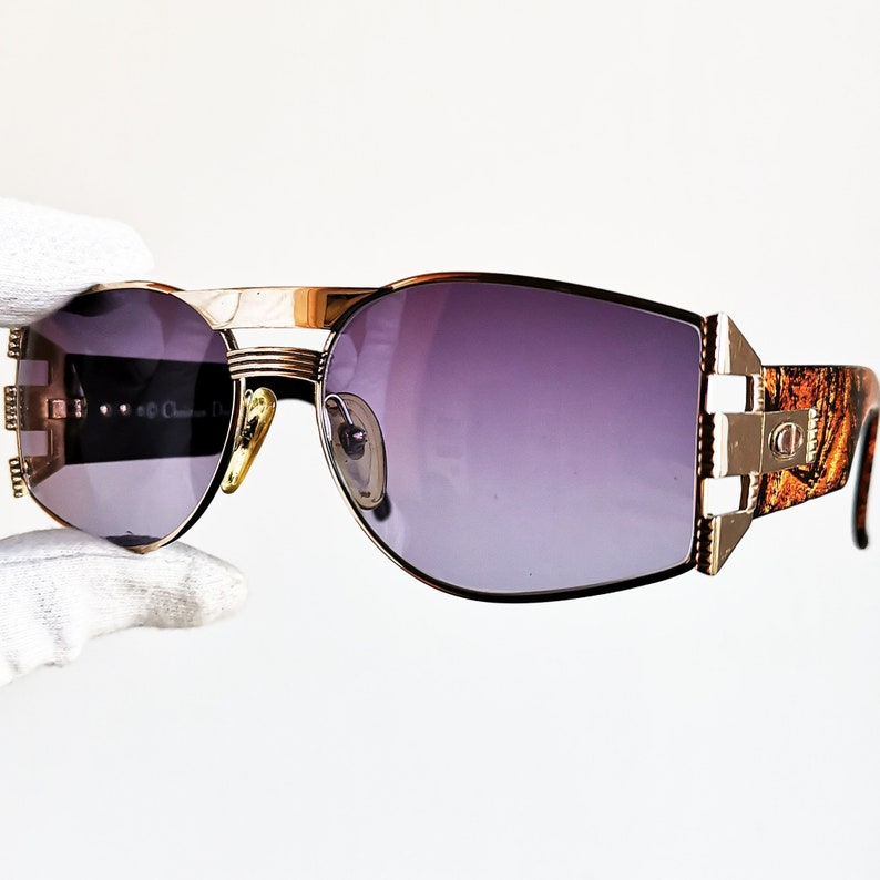 489154584e268 DIOR vintage Sunglasses rare mask French style gold oval new purple lens  aviator made in GERMANY oversize frame 2562 brown wrap shield