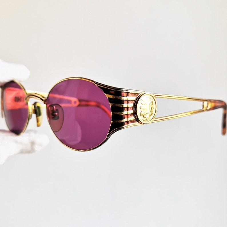 9927156690 FENDI vintage SUNGLASSES rare oval gold rim FS300 round Tupac