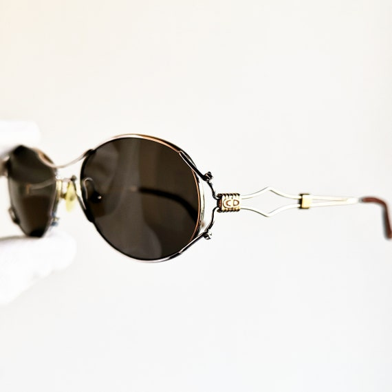 DIOR vintage SUNGLASSES rare oval frame lightweight silver and gold details Christian made in Austria steampunk lunette new lens 90s 2682