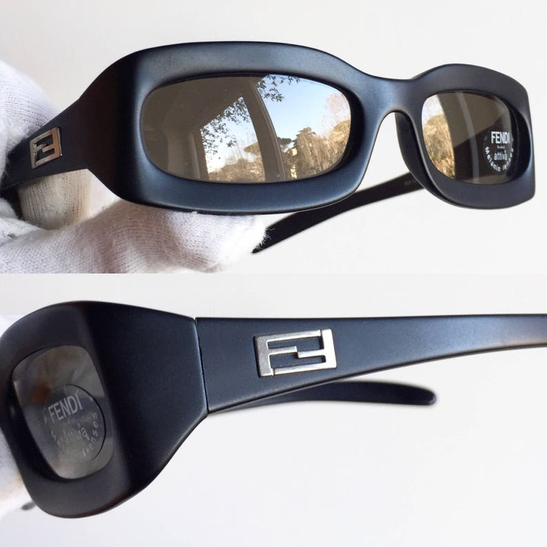 0baefe0f300d8 FENDI vintage Sunglasses rare oval square matte black small