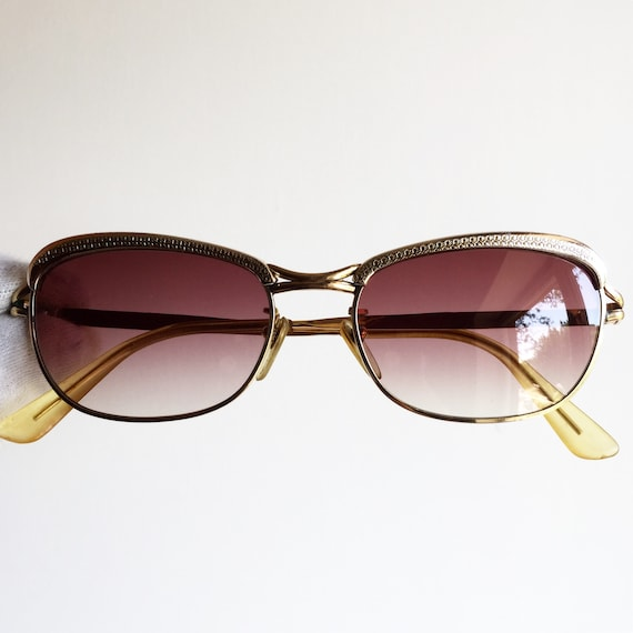 49b926f248 AMOR oval SUNGLASSES vintage rare engraved Gold filled plated