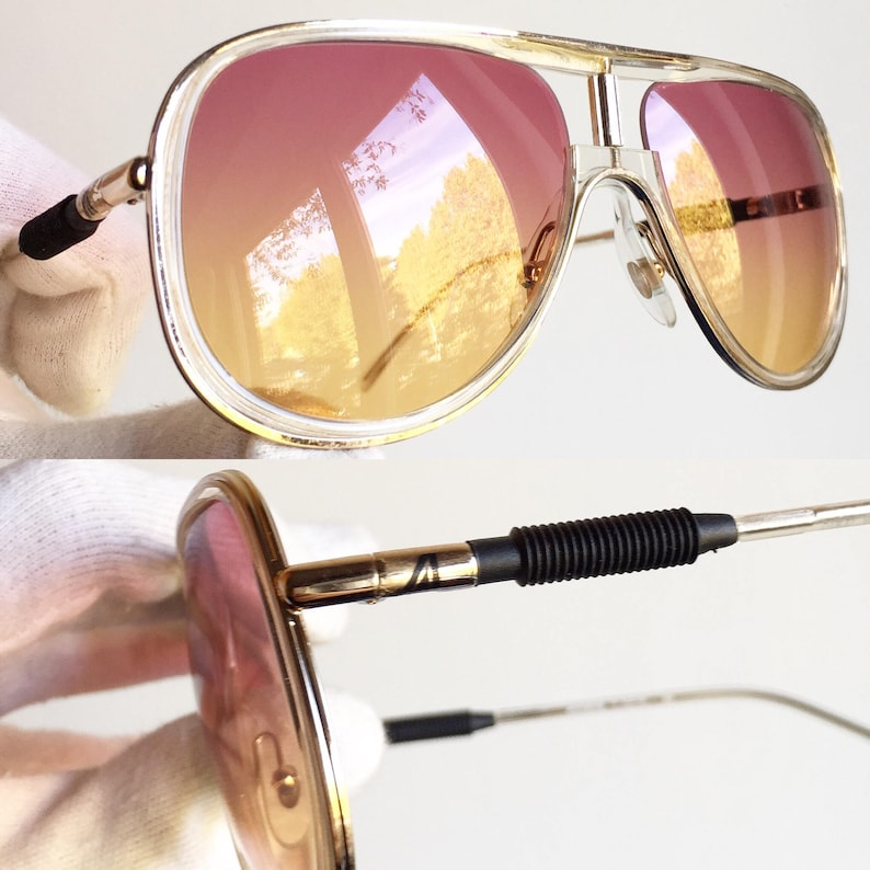 2dcb669aa23ff ALITALIA vintage SUNGLASSES rare aviator new red orange lens clear frame  Kanye West made in Italy Classic 500 yeezy boost zebra shooter NOS