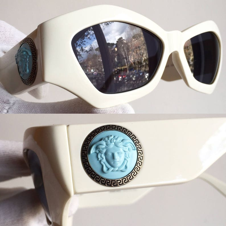 955535f739 VERSACE vintage sunglasses rare off white squared wrap mask