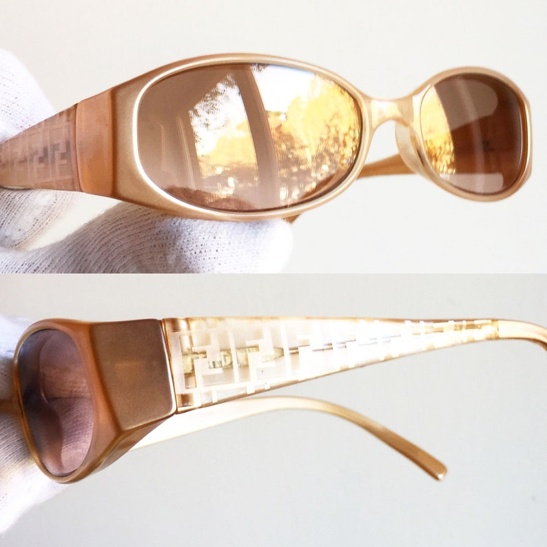 5921959472 FENDI vintage SUNGLASSES rare monogram gold oval pink salmon