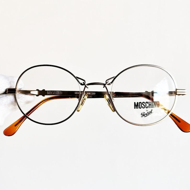 9b161f50fa3 MOSCHINO by PERSOL vintage Eyewear rare gold rim oval