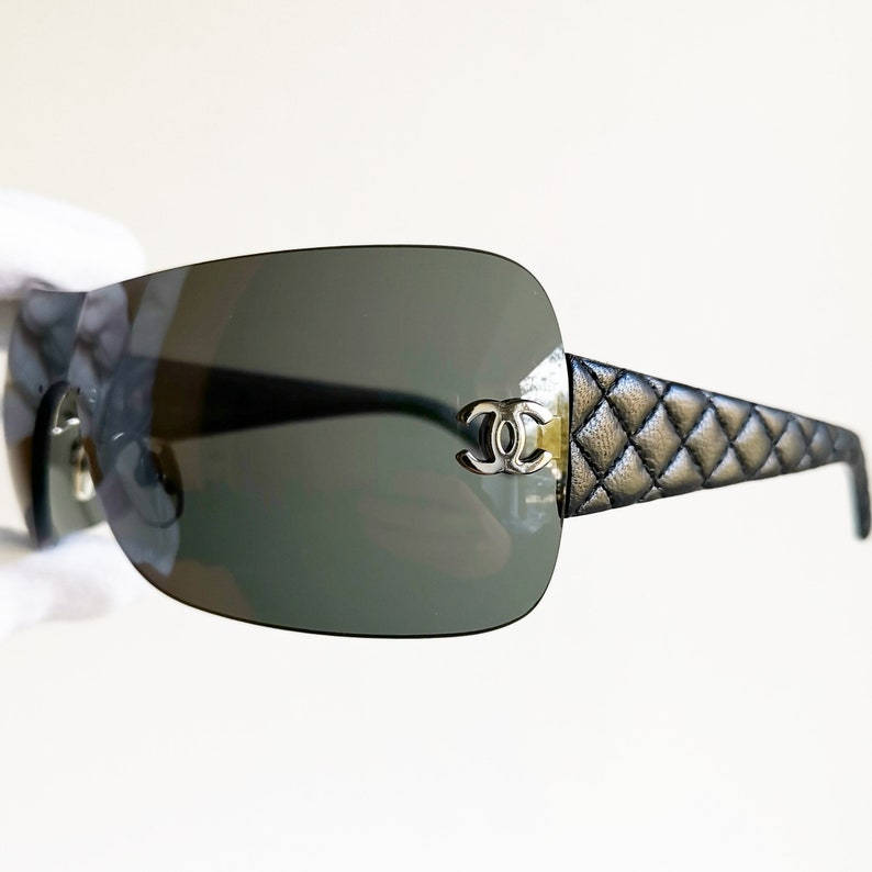 dc193fca488 CHANEL vintage Sunglasses rare matelasse leather quilted wrap