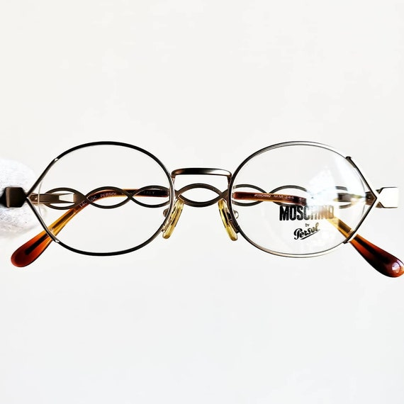 c028232279 MOSCHINO by PERSOL vintage Eyewear rare gold oval Eyeglasses