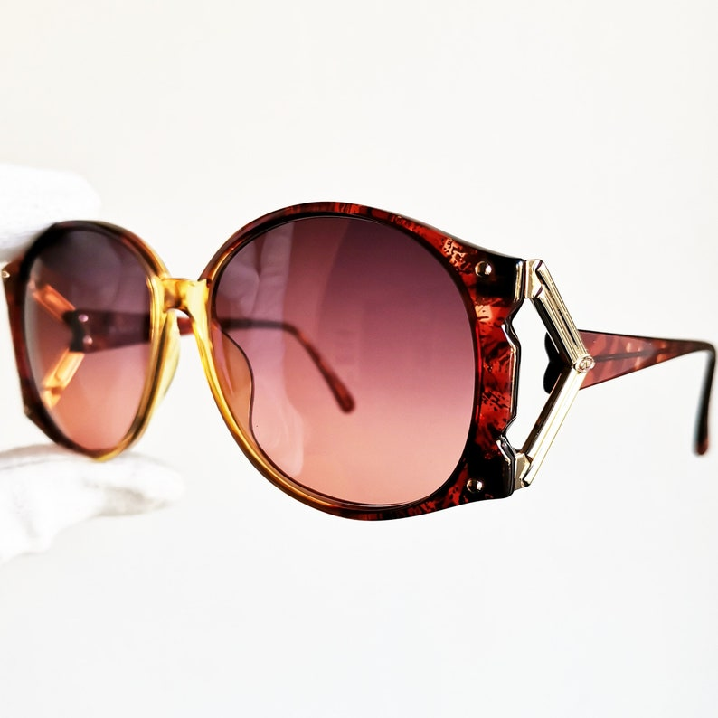 f0eee44da7 DIOR oversize vintage sunglasses rare round gold red Christian