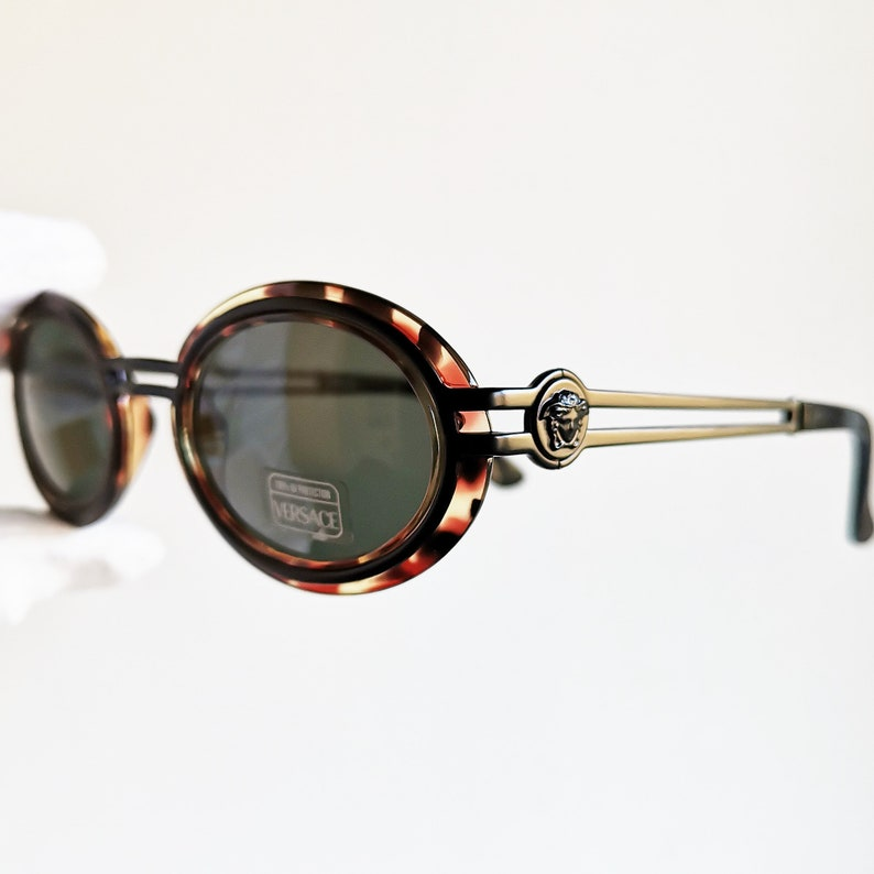19b1732cae52b VERSACE vintage sunglasses rare oval round S28 black medusa