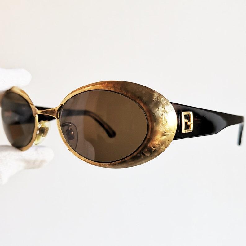 d8b52aeb04 FENDI vintage Sunglasses rare oval gold filled tortoise brown