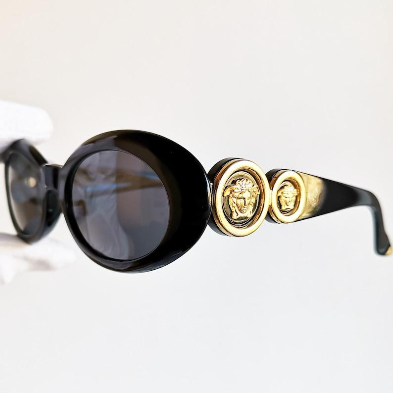 9a86869ba5 VERSACE vintage sunglasses rare 527 oval black gold medusa